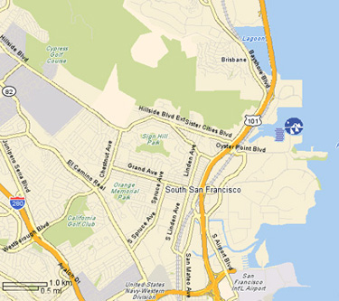 Location YAHOO! Map 385 Oyster Point Blvd. South San Francisco ... on chicago map, northern ca map, usa map, sausalito map, detroit map, bay area map, las vegas map, omaha map, california map, los angeles map, dallas map, united states map, boston map, new orleans map, sydney australia map, salt lake city map, kansas city map, berkeley map, tokyo map, golden gate park map,
